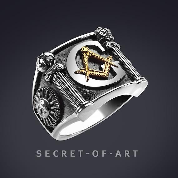 Freimaurer Ring Siegelring Masonic Master Mason Loge Ring Logenring Big G and Pillars Silber 925 Ring mit Gelbgold Plattierung, Sonne Mond
