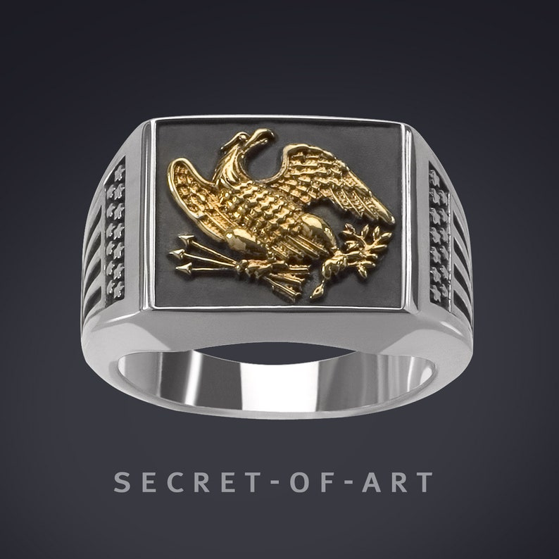 American USA Eagle Patriot Ring Silver Sterling 925 Ring With  24k-Gold-Plated Parts