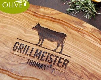 Olive wood tranchier board with engraving >GRILLMEISTER+Name< – personalized serving cutting board meat fish BBQ Grill gift man