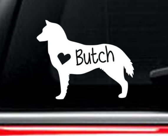 Siberian Husky Dog With Name Car Decal Free Shipping Etsy