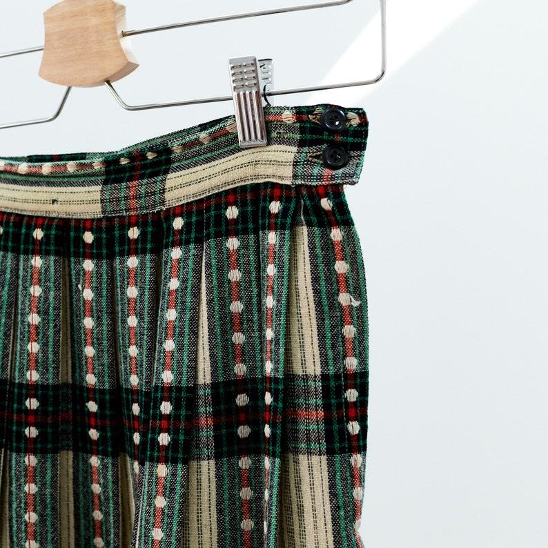 Plaid Pleated Midi Skirt