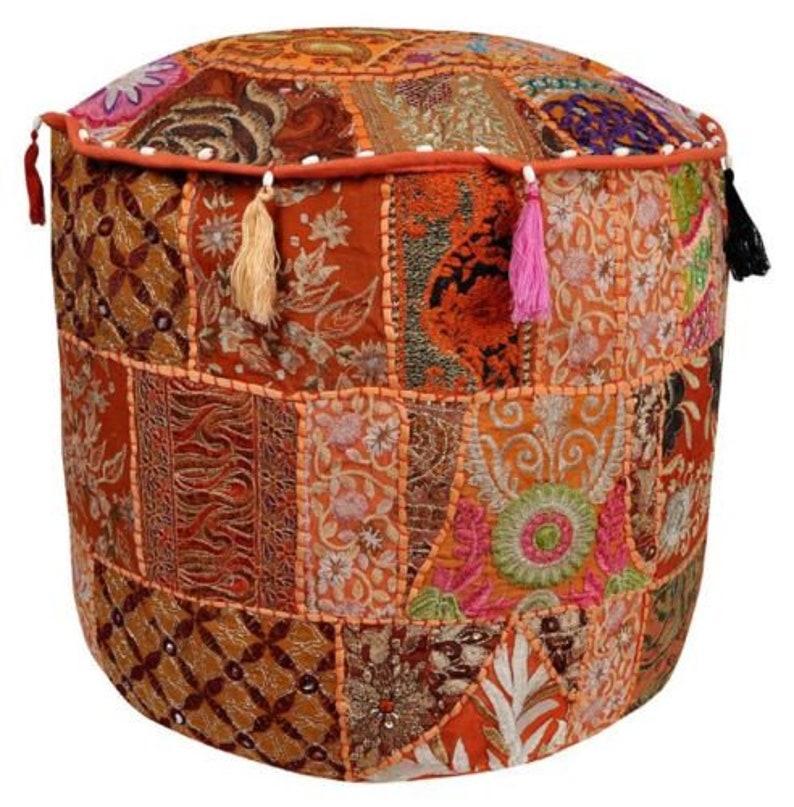 "Bohemian Patchwork Pouf Cover Ottoman Ethnic Decor Indian Pouffe 18/"" Foot Stool"