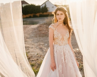 SAMPLE SALE!!! Illusion wedding dress embellished with leaf motif lace (LILY)