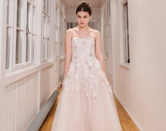 SAMPLE SALE!!! Non-traditional wedding dress with detachable court-train skirt and long embroidered tulle cape
