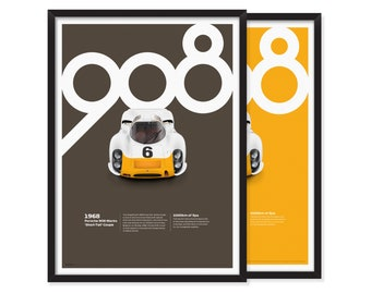 1968, Porsche 908 Works 'Short-Tail' Coupe poster