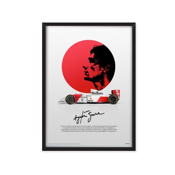 Ayrton Senna profile-McLaren MP4/8 Formula 1 poster.