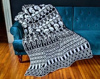 All Skulls Mosaic Crochet Blanket Pattern by Sixel