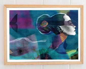 ANEMONA, illustrated sheet, print, A3, A4, reproduction, drawing, decoration paret, art, gift, portrait, art, illustration, beautiful gift