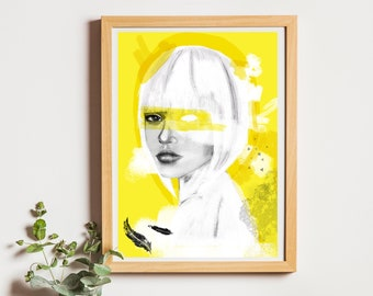 CALMA, illustrated sheet, stationery, painting, drawing, A3, A4, A5, small gift, drawing, pretty, illustration, portrait, wall art,