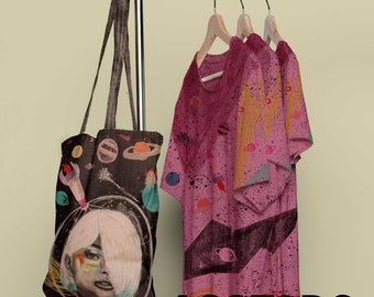 Illustrated picture, Totebag, t-shirt, stationery, painting, planets, A3, A4, small gift, drawing, pretty, illustration, space, space