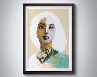 MAYA, illustrated sheet, stationery, painting, sheet, drawing A3, A4, A5 gift, beautiful stationery, portrait, wall, art, painting, draw, portrait