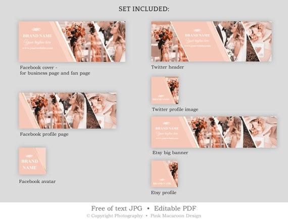Social Media Banner Template Wedding Facebook Cover Twitter Header Design Template Edit Yourself Etsy Banner Instant Download Sb1