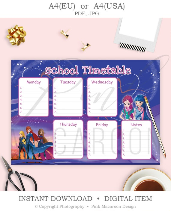 Winx Timetable Template Printable Kids School Planner Instant Download Tt3