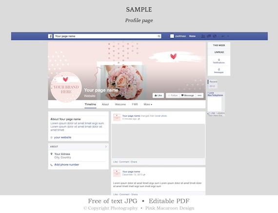 Wedding Facebook Cover Template Social Media Banner Set Rose Gold Wedding Banner Twitter Header Facebook Timeline Instant Download Sb4