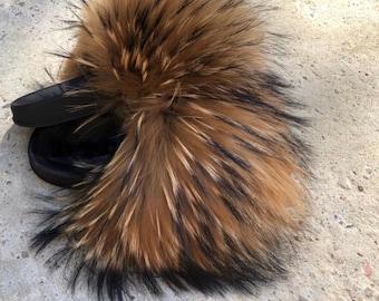 d1149933ce8 Real Fox Fur Slides Slippers Designer Inspired Fox Fur Sandals Handmade