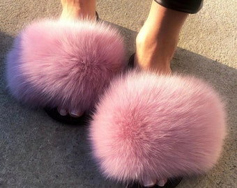 50a30cce193 Real Fox Fur Slides Fox Fur Slippers Fox Fur Sandals Handmade - Light Pink  Color