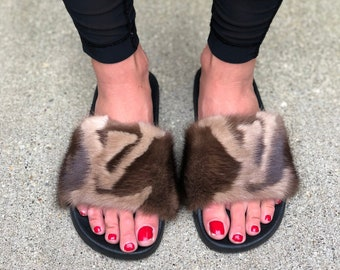 045db24dd641 Real Mink Fur Slides Slippers Designer Inspired Mink Fur Sandals Handmade