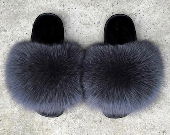 c228c946556 Real Fox Fur Slides Fox Fur Slippers Fox Fur Sandals Handmade - DARK GREY