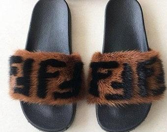 e0fe7041a Real Mink Fur Slides Slippers Designer Inspired Mink Fur Sandals Handmade