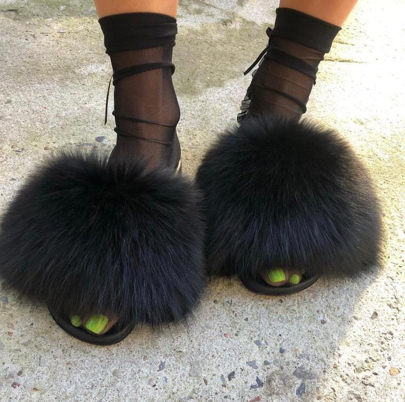 a7cc114612d1c NEW! Fox Fur Slides Fur Slippers Sandals Handmade- BLACK