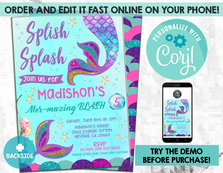 Splish Splash Mermaid Invitation, Mermaid Invitation, Mermaid Birthday  Invitation, Glitter Mermaid Invitation