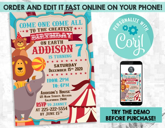Circus Invitation Template Editable Carnival Birthday Party Printables Invite Instant Download