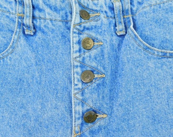 4a8406232b Vintage GUESS Georges Marciano Womens Size 30 Denim Jean Button Skirt 1980s