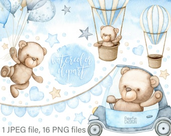 Watercolor Teddy Bear clipart. Baby Boy, Cute Kids clip art. Individual PNG, JPEG files. Commercial use. It's a boy, digital illustrations.