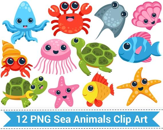 Sea Animal Clipart Sea Creatures Clip Art Fish Turtle | Etsy