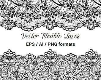 Seamless Vector Black Lace, Tileable Lace, Wedding Invitation Decor Clip Art, Wedding Lace Clipart, Vector format AI, EPS.