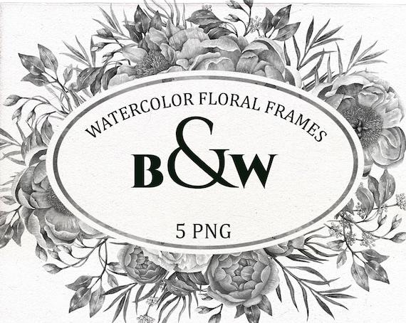 Black And White Floral Frame Digital Watercolor Border Grey Flowers Clipart Floral Arrangement Wedding Invitation Clip Art