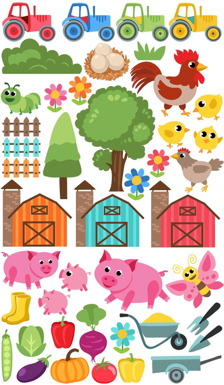 Farm Animals Tractor Pig Eggs Digital Farm Clip Art Digital Paper Vegetables Fabric Pattern Barn Tree. Chicken Seamless Pattern
