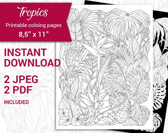 Pdf Jpeg Digital Adult Coloring Tropical Page Botanical Etsy Are you looking for the best tropical leaves clipart for your personal blogs, projects or designs, then clipartmag is the place just for you. etsy
