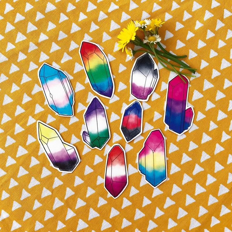 Queer kristallen individuele vinyl stickers LGBTQ  Pride image 0