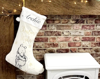 Luxury Embroidered Christmas Stocking / Disney Winnie the Pooh / Extra Large Cream and Gold