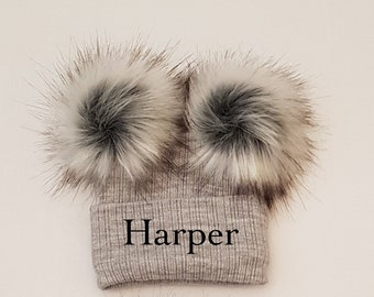 3799e7c2eee Personalised double raccoon faux fur pom pom knitted winter baby hat grey