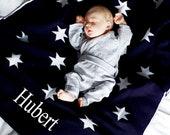 Personalised Baby Blanket, Baby Star Blanket, Navy Shawl, New Baby Gift, Baby Shower Gift, Hospital Blanket