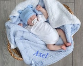 Personalised Baby Blanket, Baby Boy Gift, Blue Cable Knit Wrap, Fleece Lined Shawl with Satin Bow,