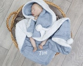 Personalised Baby Gift, Dusty Blue Cable Knit Fleece Pom Pom Baby Blanket Wrap