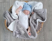 Personalised Baby Blanket, Grey Cable Knit Wrap, Fleece Lined Shawl with Satin Bow, Baby Girl, Baby Boy, Unisex Gift