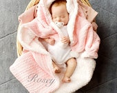 Personalised Baby Blanket, Girl 39 s Pink Cable Knit Shawl, Fleece Lined Wrap with white Pom, Baby Girl Gift
