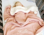 Personalised Baby Blanket Girls Rose Gold Shawl Cable Knit Fleece Pom Pom Wrap Baby Gift Baby Shower Gift