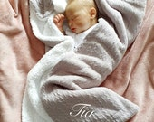 Personalised Baby Gift, Grey Cable Knit Fleece Pom Pom Baby Blanket Wrap