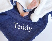 Personalised Baby Blanket - Boy 39 s Navy Blue Cable Knit - Fleece Pom Pom Wrap - New Baby - Christening - Baby Shower Gift