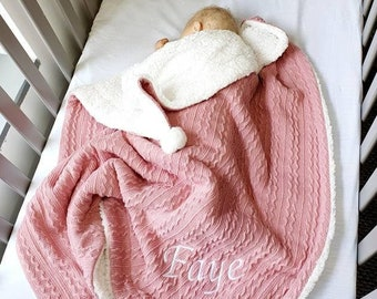 New Personalised Chunky Knitted Winter Baby Blanket Pram Wrap Throw Sleeping Bag