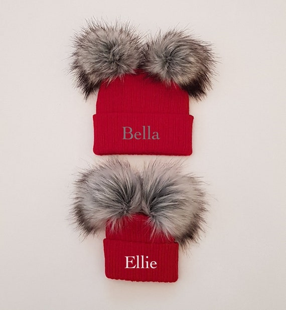 40980727325 Personalised double faux fur pom pom knitted winter baby