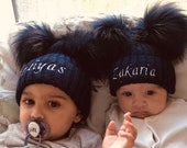 Personalised Baby Boy Girl Toddler Navy Pom Pom Hat - Newborn - 6 Years Baby Gift Baby Shower Gift Gift for Boys Girls