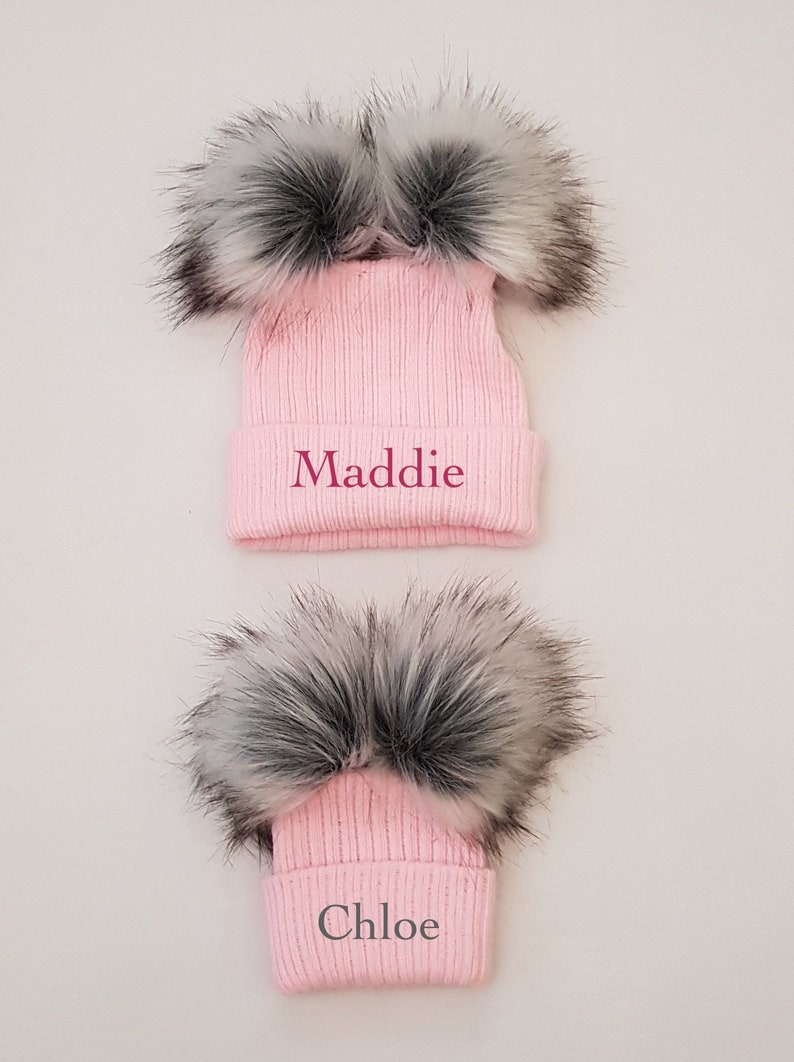 ee997cfd400 Personalised Double Faux Racoon Fur Pom Pom Knitted Winter