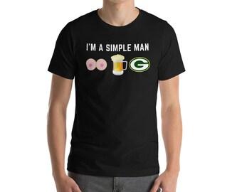 444f876b006 Green Bay Packers T-Shirt-NFL t shirt-Simple man t shirt-I love beer boobs  t shirt