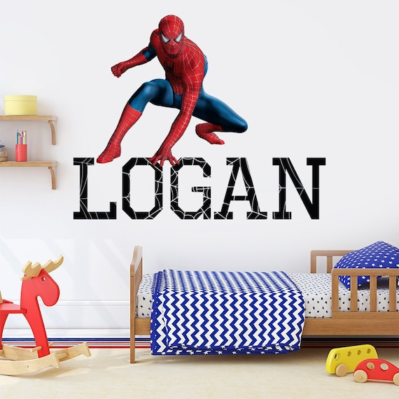 spiderman wall decal spiderman decal boys name wall decal | etsy